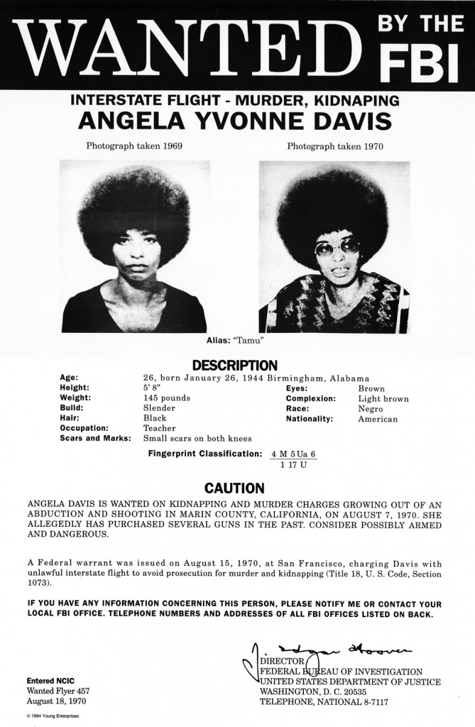 FBI Wanted Notice for Angela Davis
